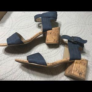 Denim Cork open toe sandals
